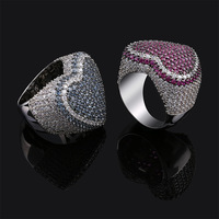 New Red Bule Color Heart Ring Micro Pave Cubic Zircon Round Ring Full Iced Out Bling HipHop/Punk Men Women Jewelry For Gifts