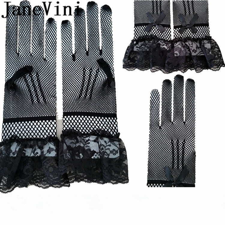 Купить с кэшбэком JaneVini 2019 Hot Sale Lace Wedding Gloves White Black Gant Mariee Bridal Gloves Bride Party Short Cheap Net Gloves Accessories