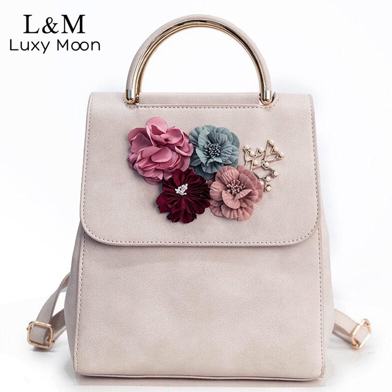 Women Backpack Floral Summer Fashion Backpacks Beige High Quality PU Leather Bag Teenage Girls School Bags Solid Mochila XA1066H