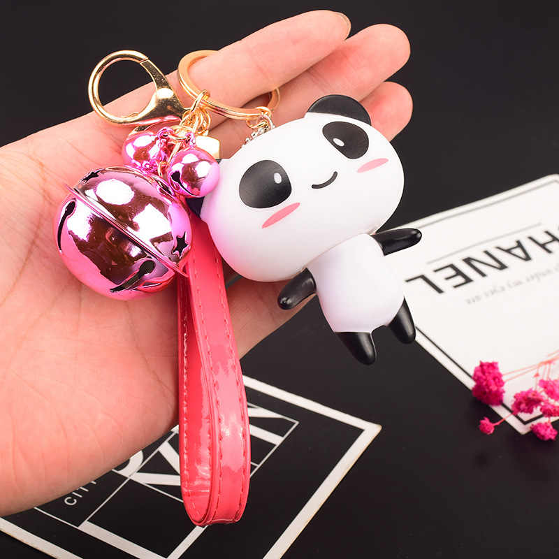Nueva llegada lindo creativo Mini Panda forma muñeca dibujos animados llavero coche y bolso accesorio para amantes mujeres cumpleaños regalo fiesta joyería