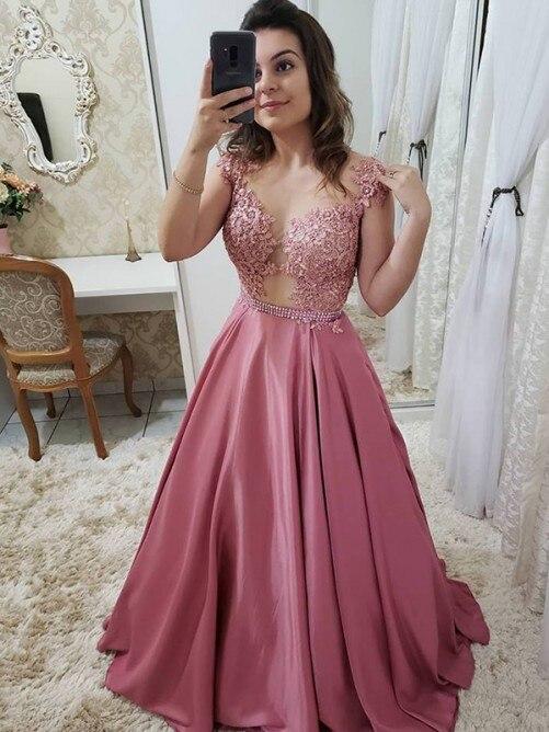 vestido formatura Stunning A-line Satin   Prom     Dresses   Pink Sleeveless Elegant Women Evening Party   Dress