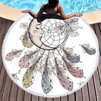 1pcs Beach Tapestry Moon and Dreamcatcher Tassel Mandala Tapestry Round Wall Hanging Beach Towel Throw Yoga Mat Round Tapestry
