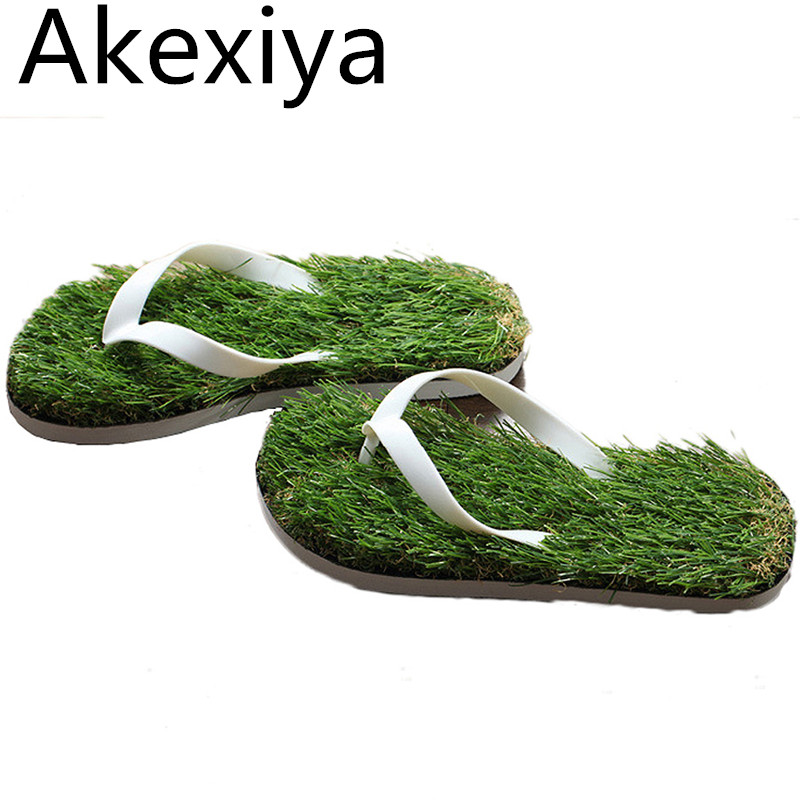 Akexiya Men Imitation Grass Flip Flops For Men Summer Beach Flip Flops Flat Shoe Out Sandals Slipper Women Sandalias Mujer yierfa fashion cork slipper sandals 2017 new summer women patchwork beach slides double buckle flip flops shoe white purple red