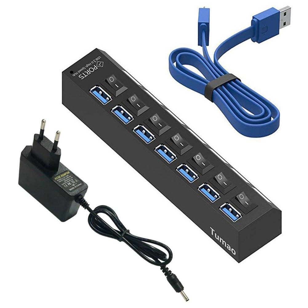 Multi Ports USB HUB 3.0 4/7 Ports Portable Super vitesse 5 Gbps plusieurs Ports USB expanseur avec commutateurs adaptateur secteur pour PC