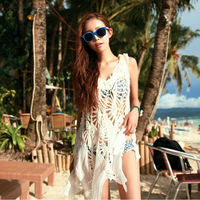 Free Shipping Sexy Beach Bikini Blouse Openwork Knit Dress Slim Bikini Cover Ups Print White Beautiful