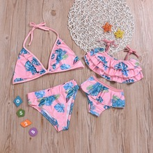 Floral Mother Daughter Swimwear Mommy and Me Clothes Family Look Mom and Daughter Matching Bikini Swimsuits Bathing Suits Dress