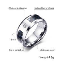 Vnox New Finger Ring for Men Male Zincon Rings Blank & Blue Carbon Fiber