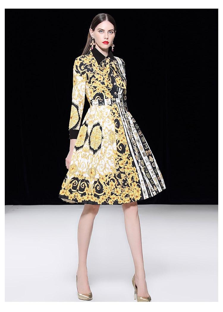 Turn De Patchwork Pour Plissée Mode Pleine Grand Style Robe La Partie Arc Neck Manches down Baroque Robes Rue Piste Y5wOgpx