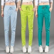 #1601 Del Verano pantalones Harem Loose women Casual pantalones de lino pantalones de cintura Elástica Delgada mujer Pantalon Sarouel Becerro de femme longitud