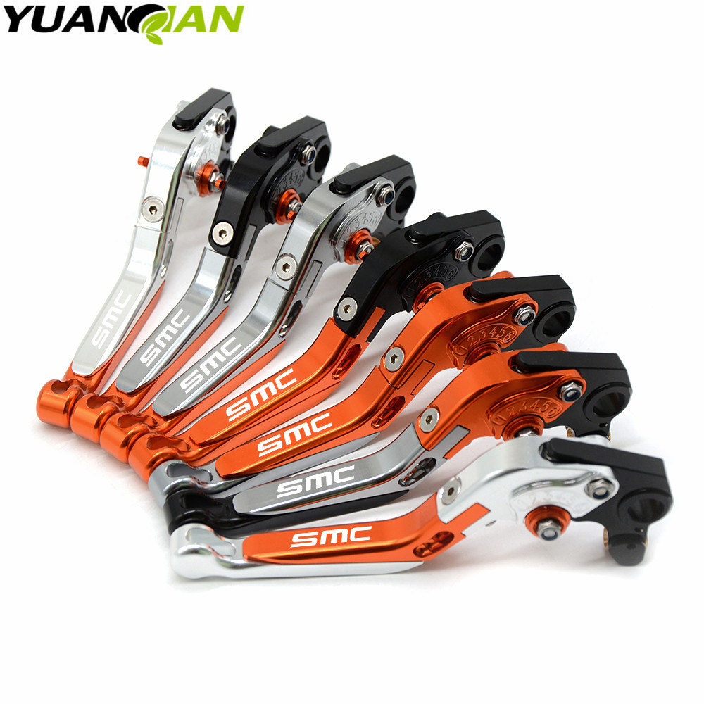Adjustable Folding Extendable Brake Clutch Lever For KTM 690 SMC SMCR 690SMC SMC-R 14 15 16 WITH LOGO Free shipping Motorcycle mtkracing cnc aluminum brake clutch levers set short adjustable lever for ktm adventure 1050 690 duke smc smcr 690 enduro r