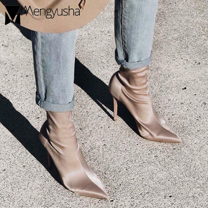 Detail Feedback Questions about star style autumn winter high heel ankle  boots women stovepipe stretch sock botas ladies thin heels chelsea boots  feminino ... 83f4f13afac8
