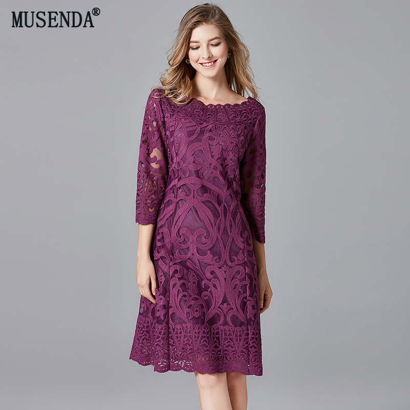 MUSENDA grande taille femmes élégant violet broderie dentelle Robe mi-longue 2018 automne dames bureau affaires fête robes Robe