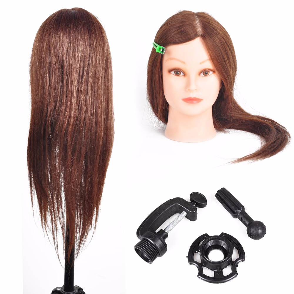 23.2 100% Real Hair Hairdressing Head Salon Mannequin Training Practice Head With Table Clamp Holder