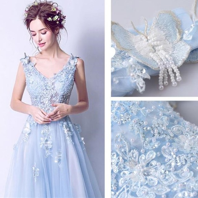 ruthshen Sexy Prom Dresses 2018 New V-Neck Embroidery Butterfly Long Evening Gowns See Through Light Blue Formal Dress 4