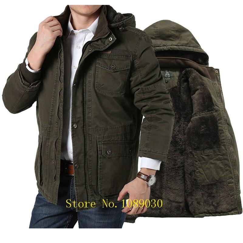 2018 AFS JEEP D'hiver Veste Hommes Style Militaire Moyen-long Polaire Parka Hommes Casual Marque Coton-rembourré Poches plus la Taille 5XL