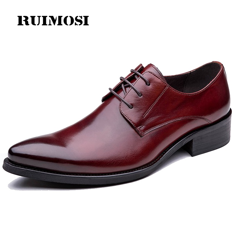 RUIMOSI Famous Man Dress Party Shoes Genuine Leather Formal Wedding Oxfords Pointed Toe Derby Business Men's Bridal Flats TH32
