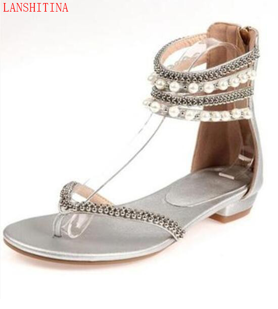 661b42f819ec LANSHITINA 2017 Women Sandals White Pearl Stud Flats Casual Beach Shoes  Beading Fashion Dress Shoes flip flops Big Size 43-in Women s Sandals from  Shoes on ...