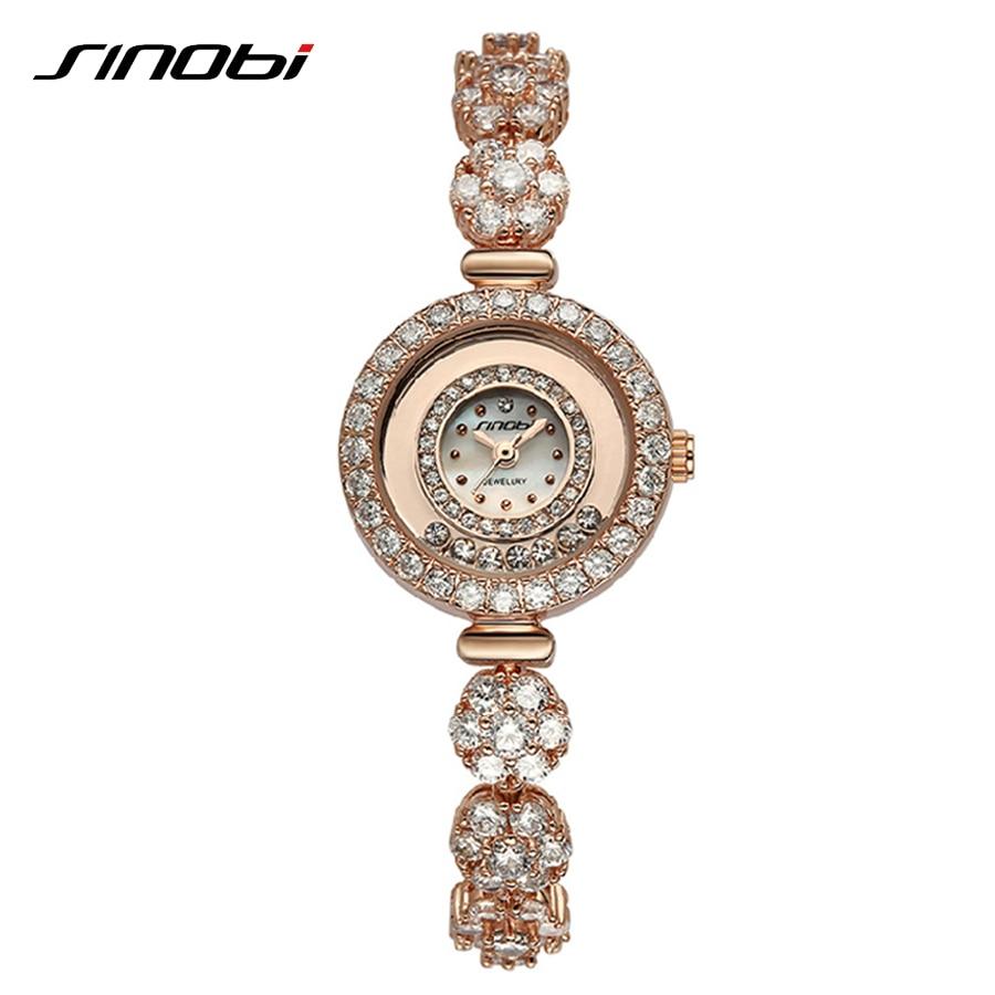 SINOBI Relogio Feminino Top Quality Fashion Women Watches Bracelet Fake Diamond Gold Woman Watch Luxury White Ladies Watch