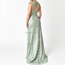 YNQNFS MD27 Real Photos Sage Green Keyhole Back Mermaid Mother of the Bride Groom Lace Dresses
