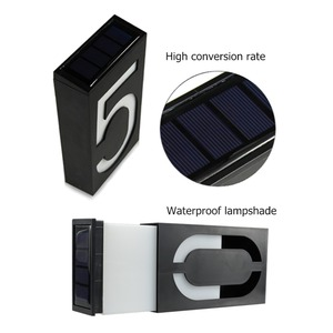 Image 3 - House Number Solar Light LED Bulb Digital Solar Powered Lamp Wall Mount Illumination Doorplate Porch Lights With Battery