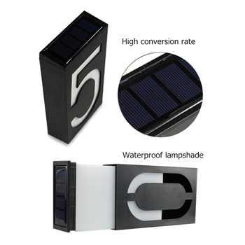 House Number Solar Light LED Bulb Digital Solar Powered Lamp Wall Mount Illumination Doorplate Porch Lights With Battery