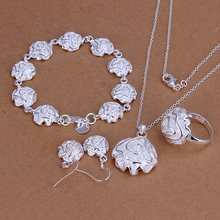 hot deal buy 925 sterling silver necklace&earring,free shipping wholesale,925 silver jewelry set