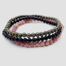 4 mm Small Nature Stone Beads Set Bracelet 3 pcs / set For Girls Women Men 18-18.5 cm Rhodonite Black Agates