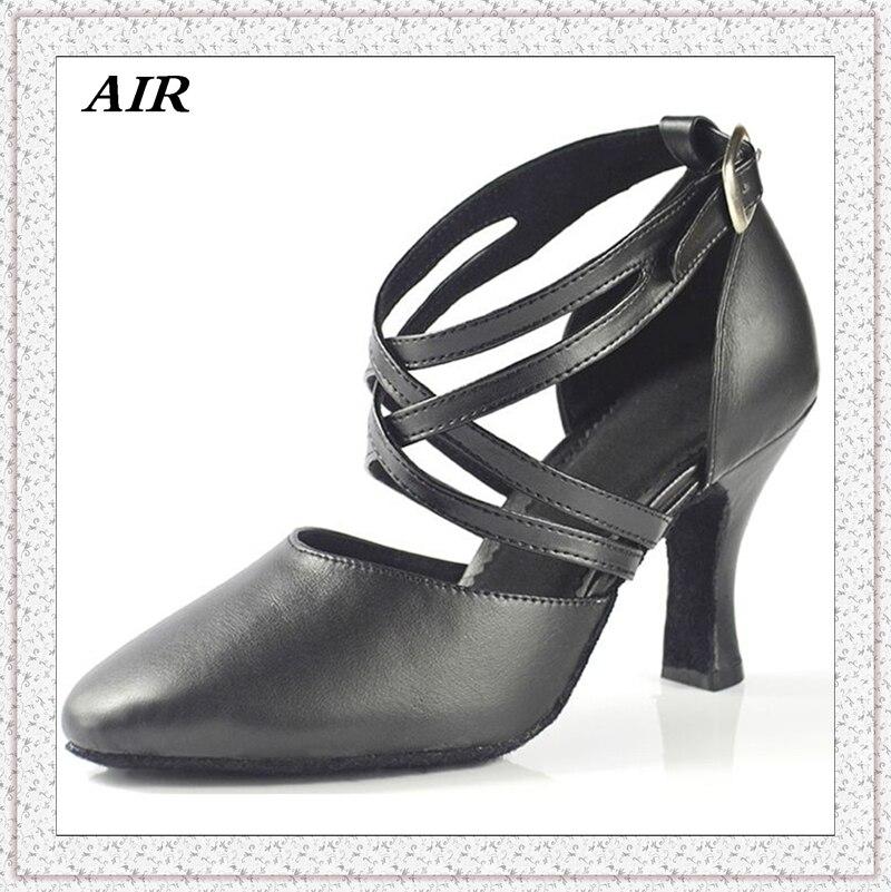 Women Latin Dance font b Shoes b font Comfort Leather Sole Black Closed Toe font b