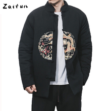 ZAITUN Winter Men Parkas Chinese Writing Embroidery Coat Traditional Style Mandarin Collar Cotton Thick Casual Brand Jacket Coat