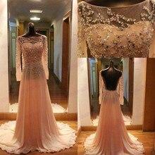 Langarm Prom Kleider mit Perlen Chiffon Mutter des Bräutigams Outfits für Hochzeit Online Vestido De Festa