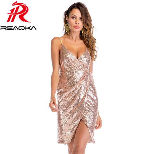 661255a22a2 2018 New Listing Summer Bodycon Gold Sequin Dress Women Sleeveless Deep V-neck  Backless Fold Sundress Slim Sexy Mini Party Dress