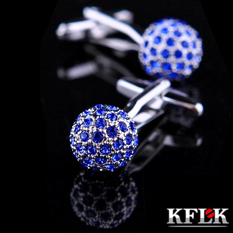 KFLK სამკაულების ბრენდი Blue Crystal Ball Cuff ბმული საბითუმო ღილაკების დიზაინერი მაღალი ხარისხის პერანგის ღუმელების სამაგრები მამაკაცებისთვის უფასო მიწოდება
