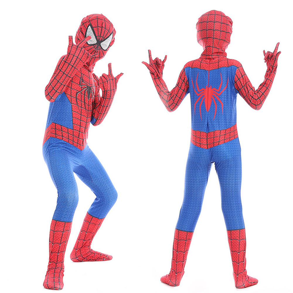 Cosplay Spiderman Halloween hero Jumpsuit  Child kids Jumpsuits  Spiderman Homecoming Zentai Bodysuit kids costumes