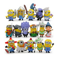 16pcs Despicable me evil purple minions toys doll plastic set  2016 New plastic  minions Kelvin birthday party supply decoration