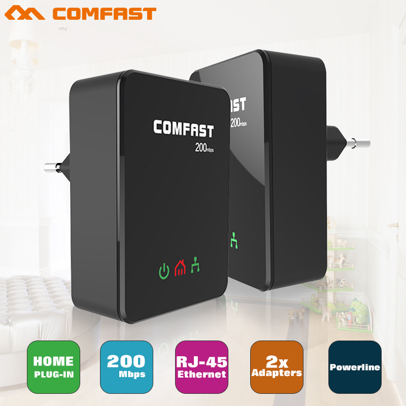 4pc Mini 200Mbps Comfast CF WP200M PowerLine ethernet adapter PLC adapter wireless WIFI extender IPTV Homeplug