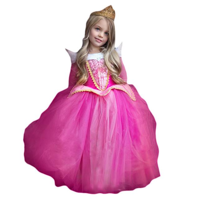 2017 Nueva Princesa Vestido de La Muchacha Bella Durmiente Custumes de Halloween Para Los Niños Los Niños Ropa de La Muchacha Cosplay Bola Vestido de Fiesta
