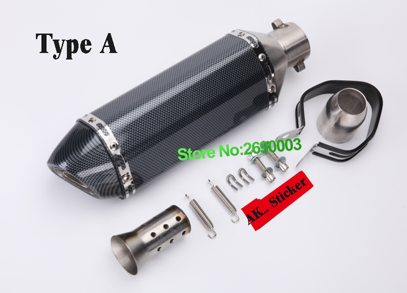 Inlet ID:51mm Length:370mm Small hexagon Carbon Fiber Looking Motorcycle Exhaust Pipe Motorbike Muffler Escape with Db killer