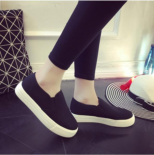 Señoras Planas Las Sneakers Casual Blanco Zapatos La Mujer De Lona black Espadrilles Plataforma Mujeres White Mocasines Para 2016 x718Pq