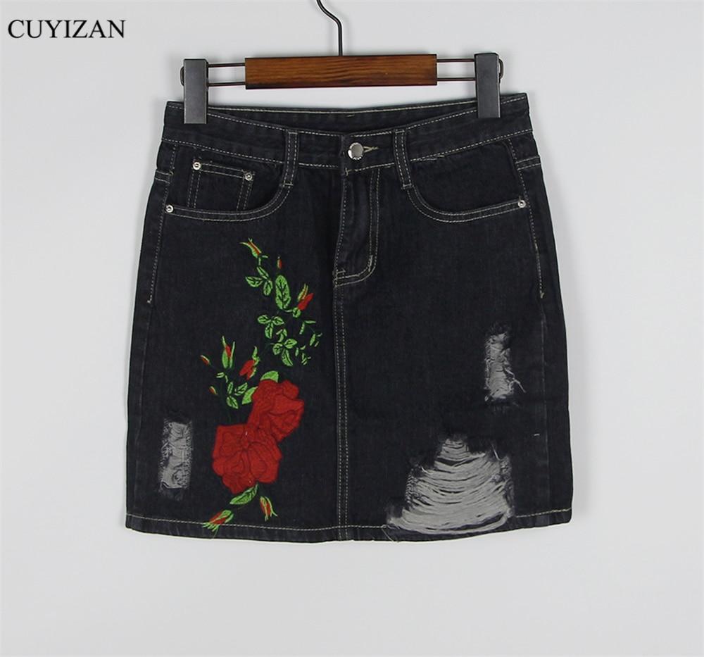 b25acd535 Black Floral Embroidered Denim Skirt – DACC