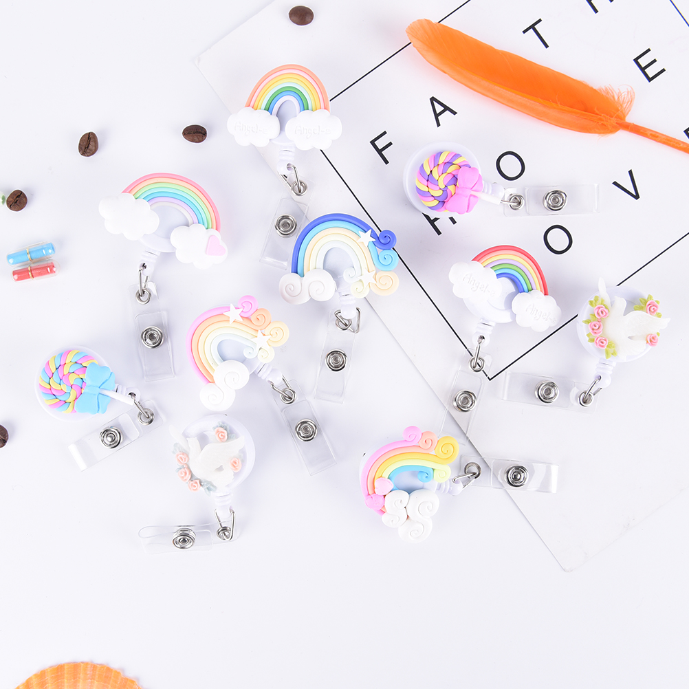 1 StÜcke Niedliche Kleine Tag Kartenhalter Reel Für Karte Nette Lutscher Regenbogen Retractable Badge Reel Id Karte Clip Id Abzeichen Buy One Give One