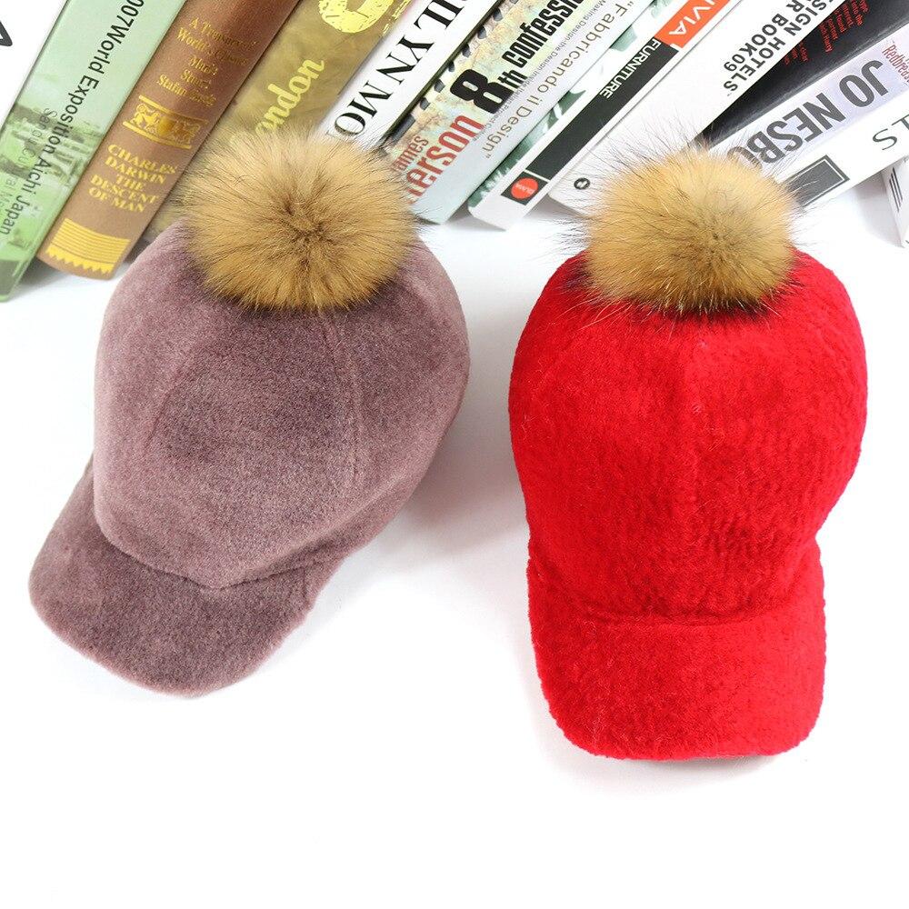 727912e9a7b78 New Fur Baseball Cap Sheep Fur Hat Wool Ladies Hat Cute Raccoon Fur Ball  Real Fur One Ski Hat Winter Woman s Travel Wearing Hat-in Baseball Caps  from ...