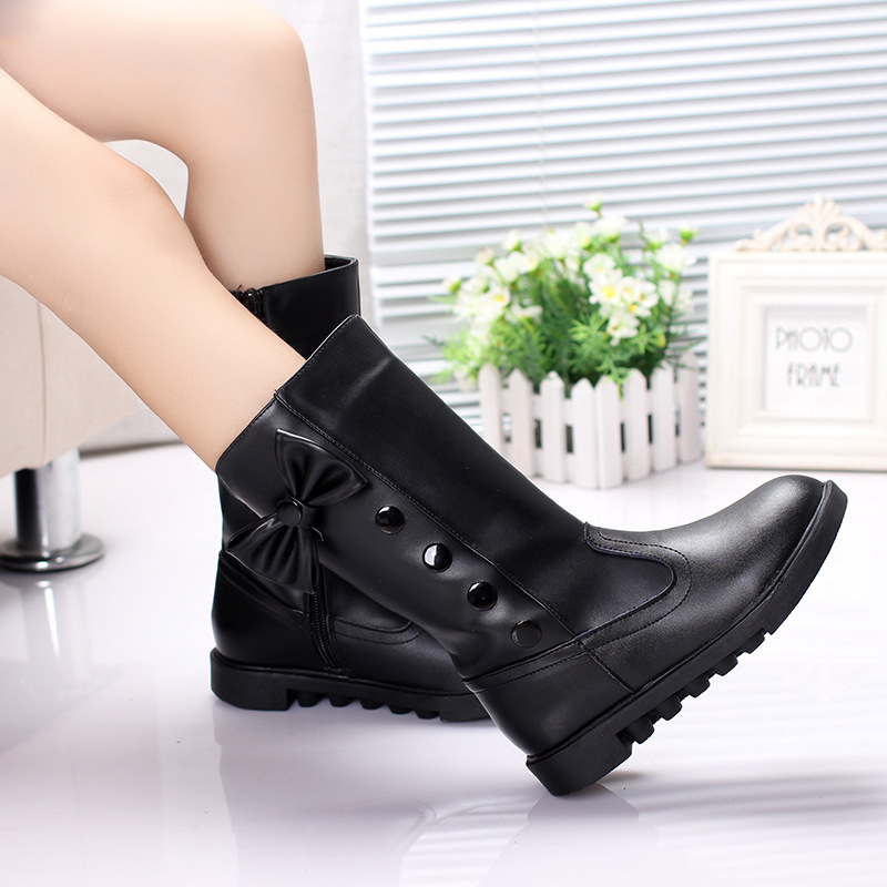 New Style 2017 Girls Classical  Boots  Autumn and spring Fashion Leather Boots with Bow bottom Princess warm high-quality Shoes 2014 new autumn and winter children s shoes ankle boots leather single boots bow princess boys and girls shoes y 451