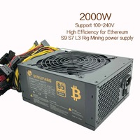 2000W Switching Power Supply High Efficiency For Ethereum S9 S7 L3 Rig Mining 100 240V For