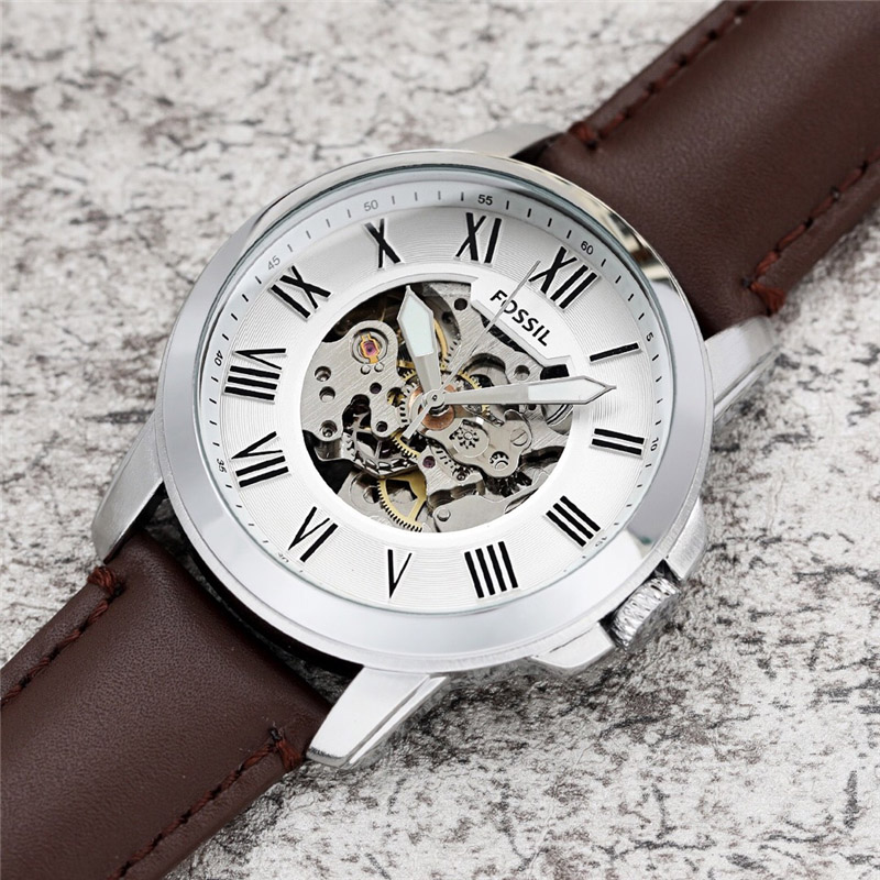 FOSSIL Men Automatic Watch Top Brand Luxury Fashion Mechanical Watch Men Sport Wristwatch with leather