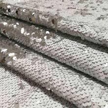 цена B·Y 1yard White to Silver Reversible Mermaid Fish Scale Sequin Fabric Sparkly Fabric For Dress Bikini Pillow Clothes Backdrop в интернет-магазинах