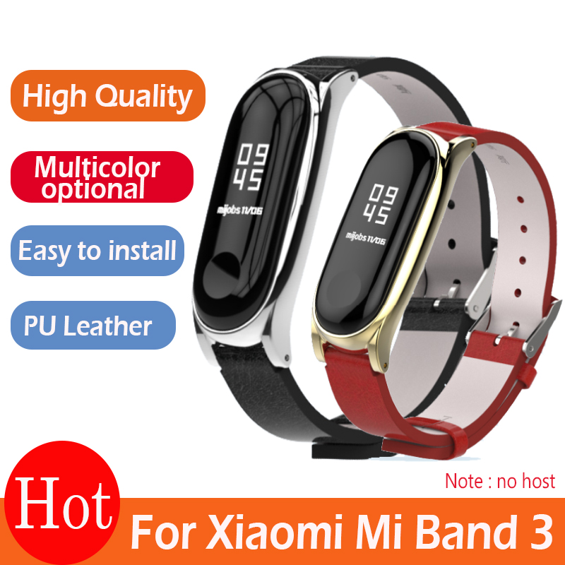 For Xiaomi Mi Band 3 PU Leather Strap Metal Frame for MiBand 3 Smart Bracelet PU Plus leather strap For Mi Band 3 Accessories-in Smart Accessories from Consumer Electronics