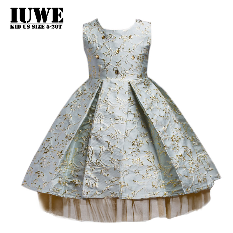 Girls Clothing 2017 Princess New Sleeveless O-neck Embroidery Flowers Vintage Dress for Girls Big Party Dresses 8 Kids Clothes summer princess o neck embroidery bow clothes children girls crown print dresses wholesale sleeveless boutique clothing 5pcs lot