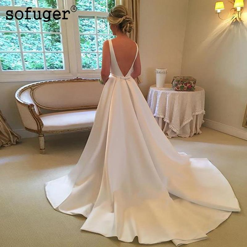 White Wedding Dress Aline Sexy Elegant Scoop Little Bow Satin Train Bridal Gown Wedding Dresses Vestidos De Noivas Custom
