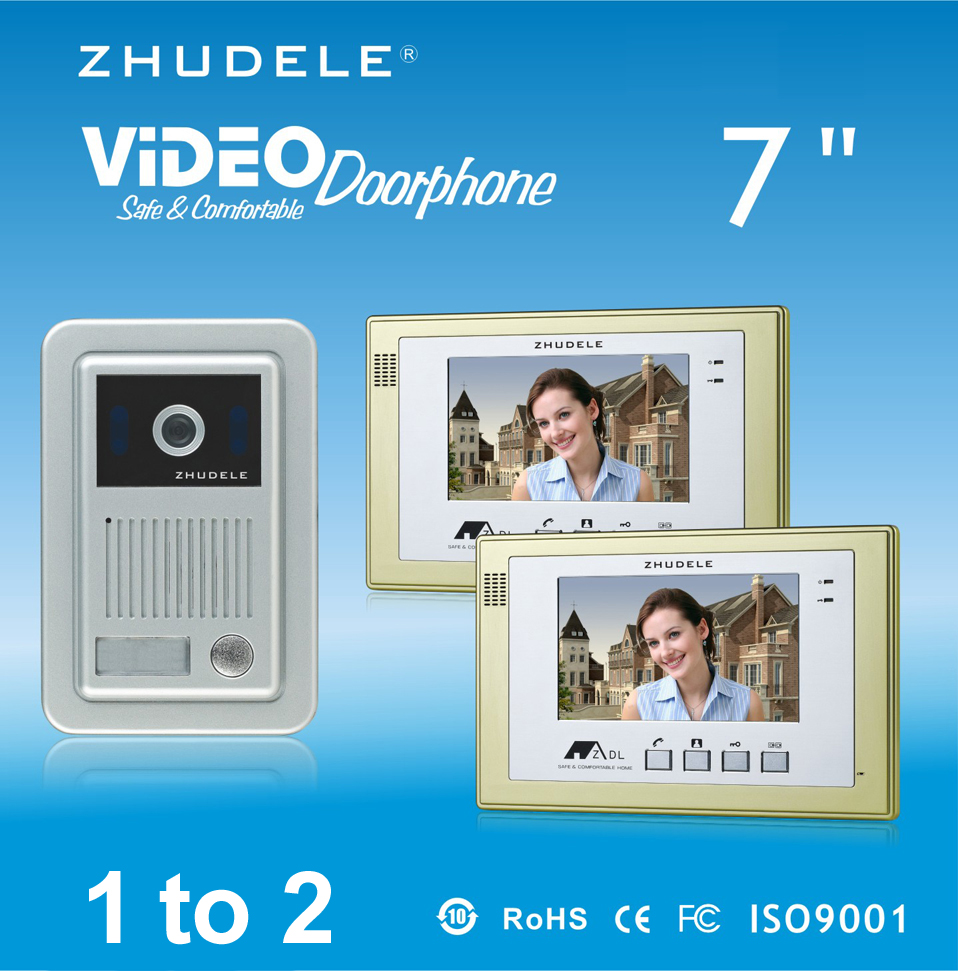 ZHUDELE Brand Home Security Intercom System Kits 2X7 Video Door Phone Monitor+1XIR CCD Outdoor Camera