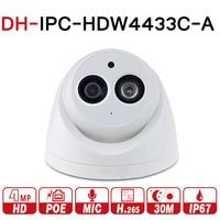 DH IPC HDW4433C A with logo original 4MP POE Network IR Mini Dome IP Camera Starnight Built in MiC replace IPC HDW4431C A CCTV
